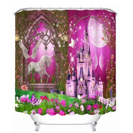 Dreamy Unicorn and Castle Printing Bathroom 3D Shower Curtain