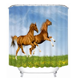 3D Jumping Horses Printed Polyester Light Blue Bathroom Shower Curtain
