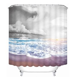 Dark Clouds and Blue Ocean Printing Bathroom 3D Shower Curtain