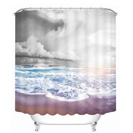 Dark Clouds and Blue Ocean Printing Bathroom 3D Shower Curtain