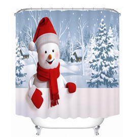 Super Cute Snowman Smiling Printing Bathroom 3D Shower Curtain