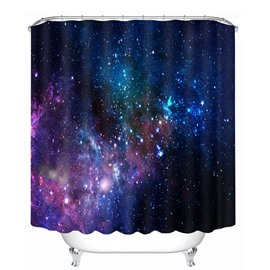 3D Galaxy Printed Polyester Dark Blue Bathroom Shower Curtain