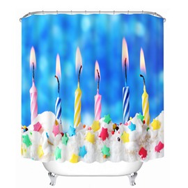 Burning Candles in the Cake Printing Bathroom 3D Shower Curtain