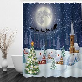 Dreamy Christmas Theme Printing Bathroom 3D Shower Curtain