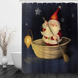 Santa Boating Printing Christmas Theme Bathroom 3D Shower Curtain