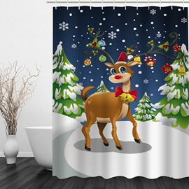 Clip Art Cute Reindeer Printing Christmas Theme Bathroom 3D Shower Curtain