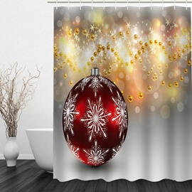 Christmas Ball Printing Bathroom Waterproof 3D Shower Curtain