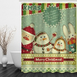 Clip Art Cute Santa and Rabbit Printing Christmas Theme Bathroom 3D Shower Curtain