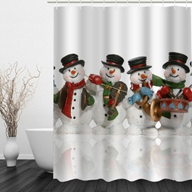 Cute Snowman Band Printing Christmas Theme Bathroom 3D Shower Curtain