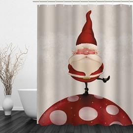 Santa Standing on Mushroom Printing Christmas Theme Bathroom 3D Shower Curtain