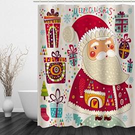 Cute Cartoon Santa Printing Christmas Theme Bathroom 3D Shower Curtain