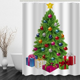 Clip Art Christmas Tree Printing Waterproof Bathroom 3D Shower Curtain