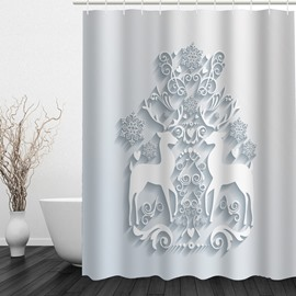 Emboss Reindeer Printing Christmas Theme Bathroom 3D Shower Curtain