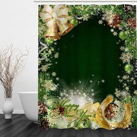 Dreamy Dark Green Christmas Theme Decor Bathroom 3D Shower Curtain