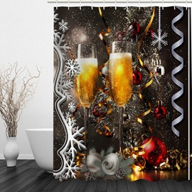 Stemware full of Champagne Printing Christmas Theme Bathroom 3D Shower Curtain