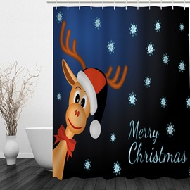Cute Smiling Reindeer Printing Christmas Theme Bathroom 3D Shower Curtain