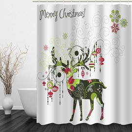 Creative Reindeer Printing Christmas Theme Bathroom 3D Shower Curtain