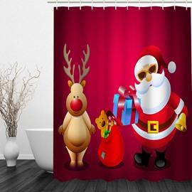 Clip Art Santa and Reindeer Printing Christmas Theme Bathroom 3D Shower Curtain