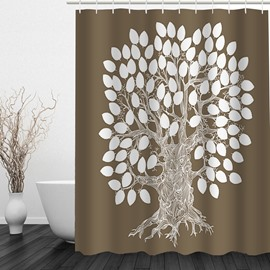 Creative White Tree Printing Christmas Theme Bathroom 3D Shower Curtain
