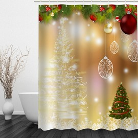Wonderful Bathroom Christmas Decor Waterproof 3D Shower Curtain
