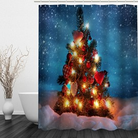 Sparkling Christmas Tree Printing Waterproof Bathroom 3D Shower Curtain