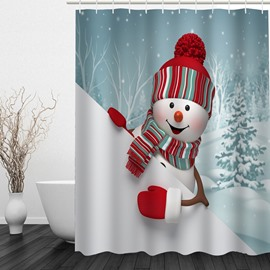 Cute Cartoon Snowman Printing Bathroom Christmas Decor Shower Curtain