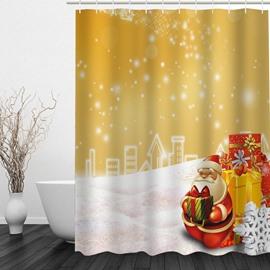 Cartoon Smiling Santa with Gifts Printing Christmas Theme Bathroom 3D Shower Curtain