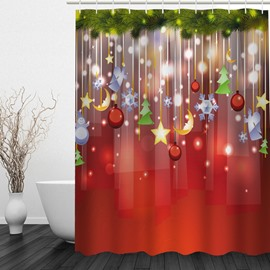 Clip Art Christmas Decoration in the Tree Printing Bathroom 3D Shower Curtain