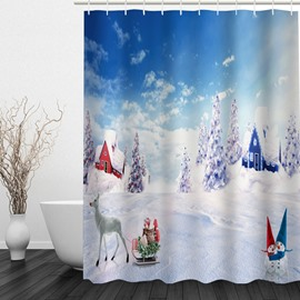 Dreamy Snowmen World Printing Christmas Theme Bathroom 3D Shower Curtain
