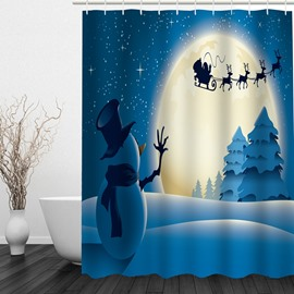 Snowman Waving to Santa Printing Christmas Theme Bathroom 3D Shower Curtain