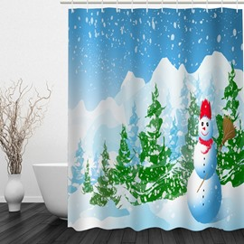 Cartoon Snowman Standing in the Forest Printing Christmas Theme Bathroom 3D Shower Curtain