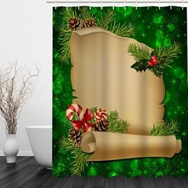Cartoon Gift List Printing Christmas Theme Bathroom 3D Shower Curtain