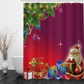 Cute Santa with Gifts Printing Christmas Theme Bathroom 3D Shower Curtain