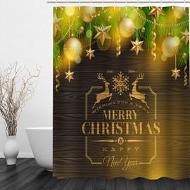 Golden Christmas Theme Printing Bathroom 3D Shower Curtain