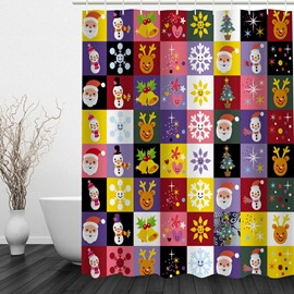 Cute Cartoon Christmas Theme Printing Bathroom 3D Shower Curtain