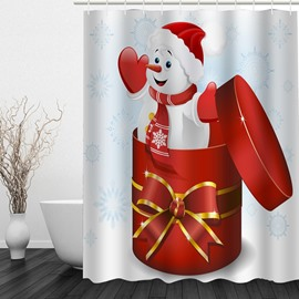 Snowman in the Gift Box Printing Christmas Theme Bathroom 3D Shower Curtain