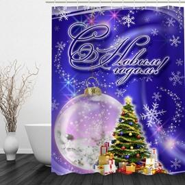 3D Christmas Theme Polyester Purple Shower Curtain