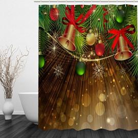 Dreamy Jingle Bell Printing Christmas Theme Bathroom 3D Shower Curtain