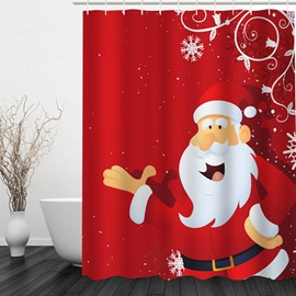 Smiling Santa Printing Christmas Theme Bathroom 3D Shower Curtain
