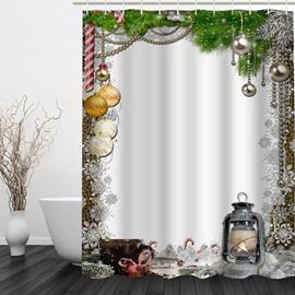 Christmas Theme Bathroom 3D Printing Waterproof Shower Curtain