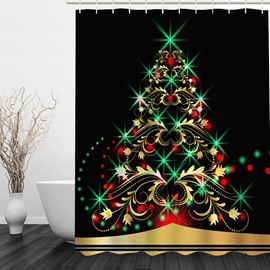 Concise Christmas Tree Printing Bathroom Decor 3D Shower Curtain