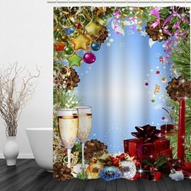 Fancy Dinner Printing Christmas Theme Bathroom 3D Shower Curtain