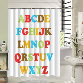Cute Colored Alphabet Printing 3D Shower Curtain