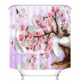 Charming Tree full of Pink Blooming Flowers 3D Printed Bathroom Waterproof Shower Curtain