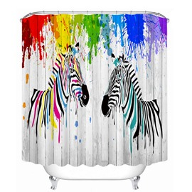 Watercolor Cartoon Zebra 3D Printed Bathroom Waterproof Shower Curtain