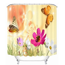 Vivid Butterfly and Colorful Flowers 3D Printed Bathroom Waterproof Shower Curtain