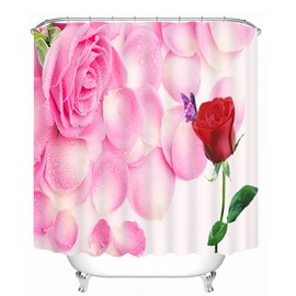 Romantic Pink and Red Roses 3D Printed Bathroom Waterproof Shower Curtain