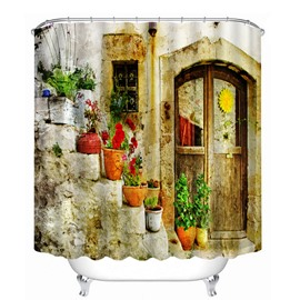 Quaint Door and Colored Flowers 3D Printed Bathroom Waterproof Shower Curtain