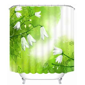 Beautiful White Flower 3D Printed Waterproof Shower Curtain