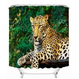 Strong Leopard Lying Down 3D Printed Bathroom Waterproof Shower Curtain